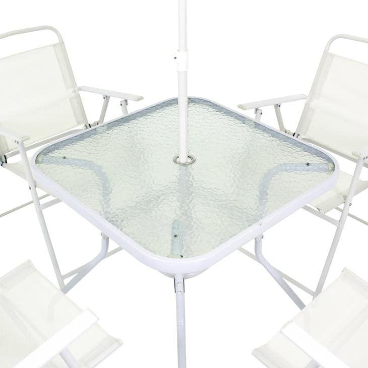 Conjunto Miami Mesa com 4 Cadeiras e Guarda-Sol Branco Belfix