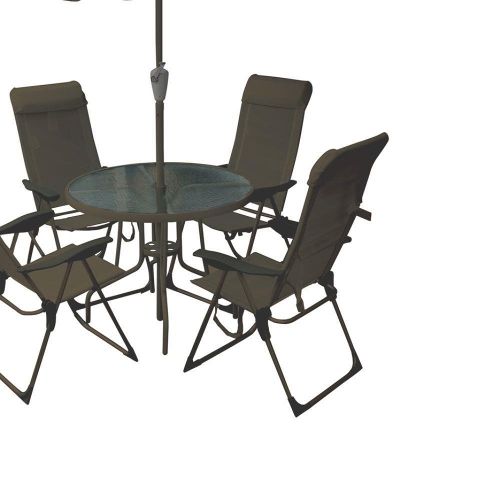 Conjunto Mônaco Mesa com 4 Cadeiras e Guarda-Sol Marrom BelFix