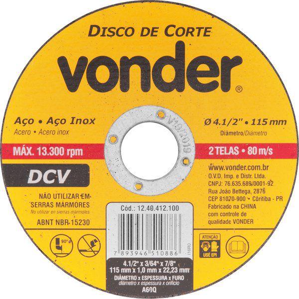 "Disco de Corte 4.1/2""  115mm DCV - Vonder"