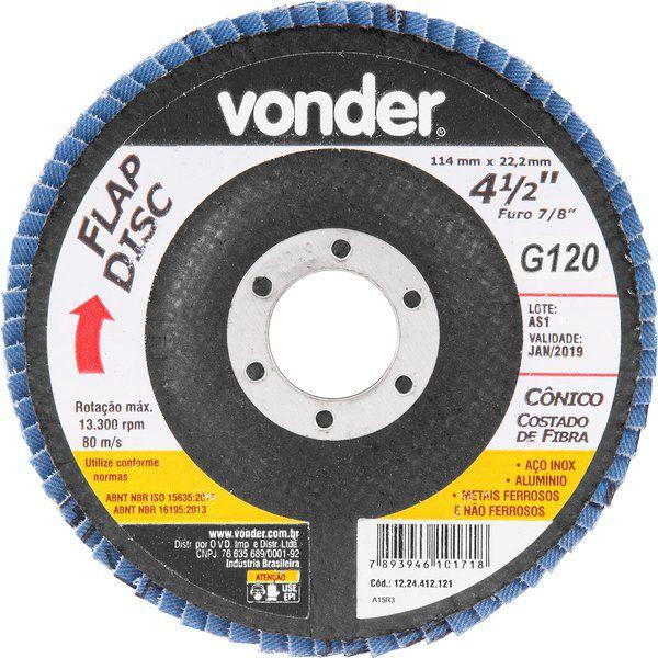 """Disco de desbaste/acabamento flap disc cônico 4.1/2"""" G120  Vonder"""
