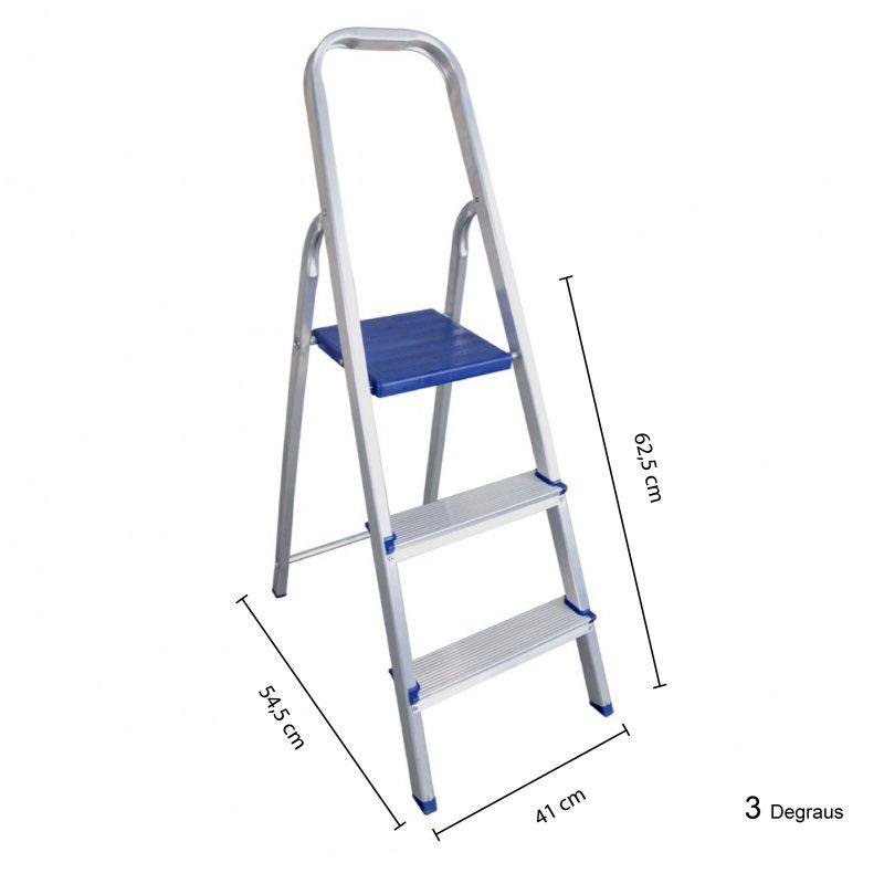 Escada Alumínio domestica 3 Degraus  - BEL