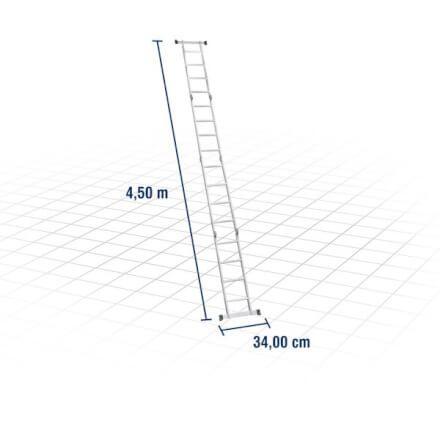 Escada articulada em alumínio, 4 x 4, VONDER 85.01.000.044