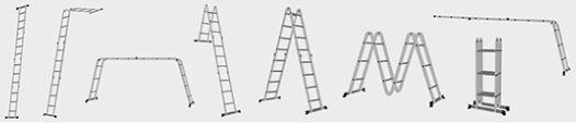 Escada Multifuncional de Alumínio 4X4 8 em 1 Worker