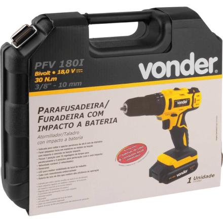 """Furadeira/Parafusadeira 3/8"""" Bateria PFV180i Bivolt Vonder"""