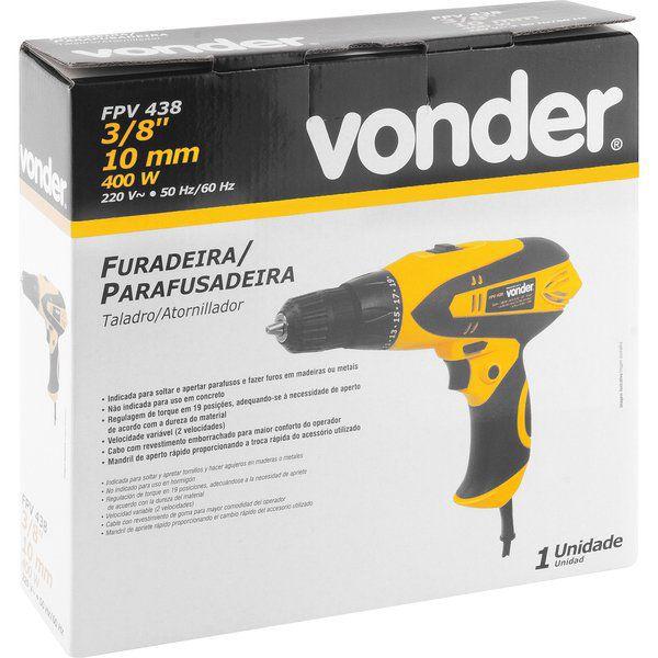 Furadeira Parafusadeira Elétrica 400w 3/8 FPV 438 Vonder