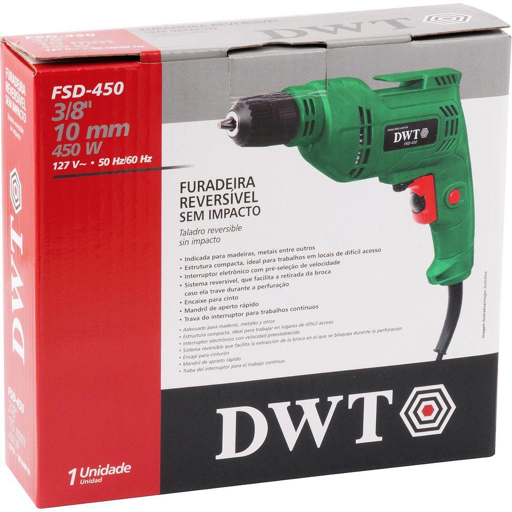 "Furadeira sem impacto 450W 3/8"" FSD450 220V DWT"