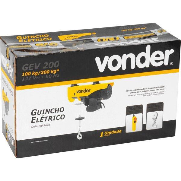 Guincho Elétrico Para 0,1 Ton/0,2 Ton GEV200 127V VONDER