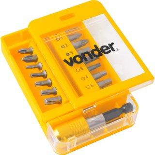"""Jogo de Bits/ponteiras com 15 peças encaixe sextavado 1/4"""" com engate rápido Vonder"""