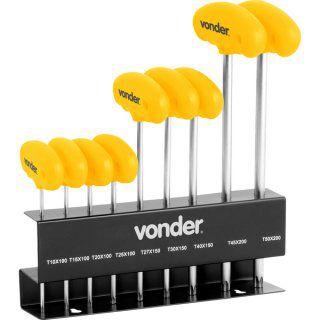 Jogo de chaves Hexalobular com cabo T10 a T50 com 9 peças  VONDER