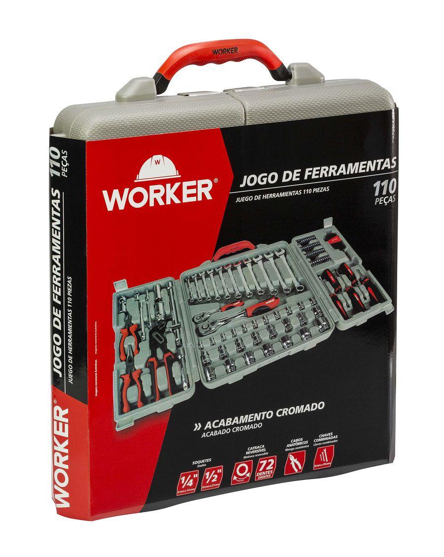 Jogo de Ferramentas 110 peças com Maleta Worker