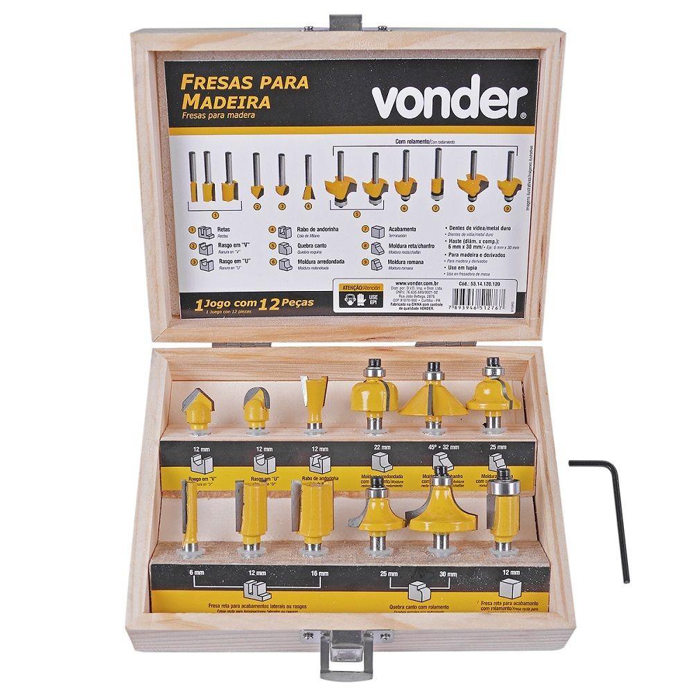 Jogo de Fresas para Madeira 12 peças - Vonder