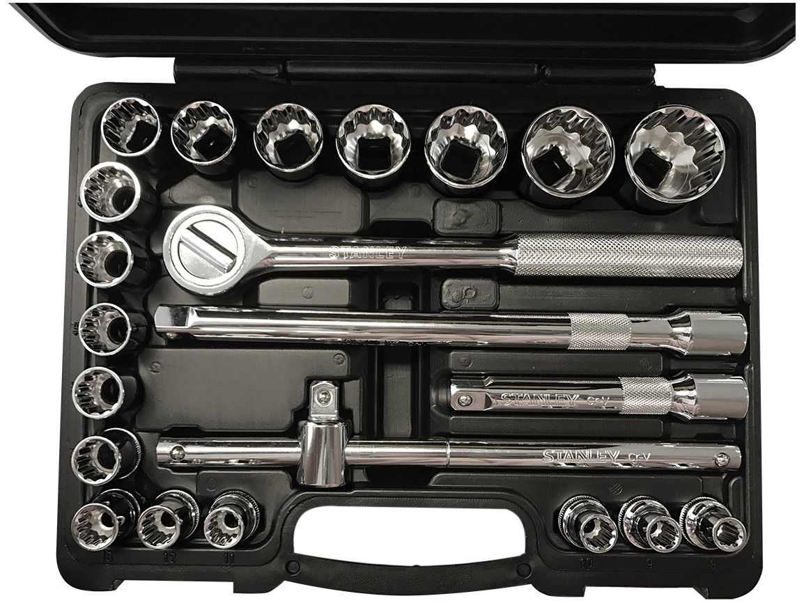 Jogo de Soquetes Estriado 8mm - 32mm 22 peças - Stanley
