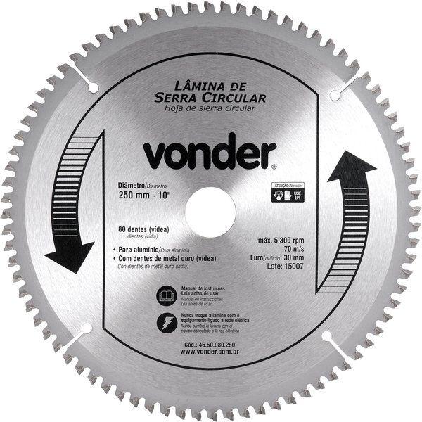 """Lâmina de Serra Circular 250mm 10"""" 80 dentes - Vonder"""