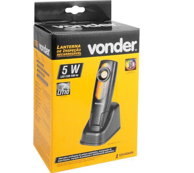 Lanterna recarregável de inspeção 5W LED CRI 96 bivolt VONDER