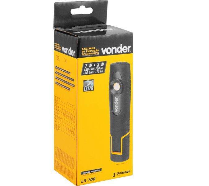 Lanterna recarregável de inspeção, 7W COB + 3W CREE, LR 700, VONDER