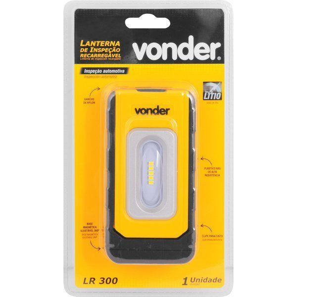 Lanterna recarregável de inspeção, compacta, LED SMD, LR 300, VONDER