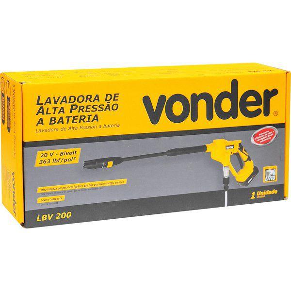 Lavadora de Alta Pressão a Bateria LBV 200 Vonder