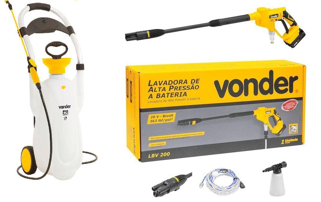 Lavajato a bateria vonder kit limpeza externa
