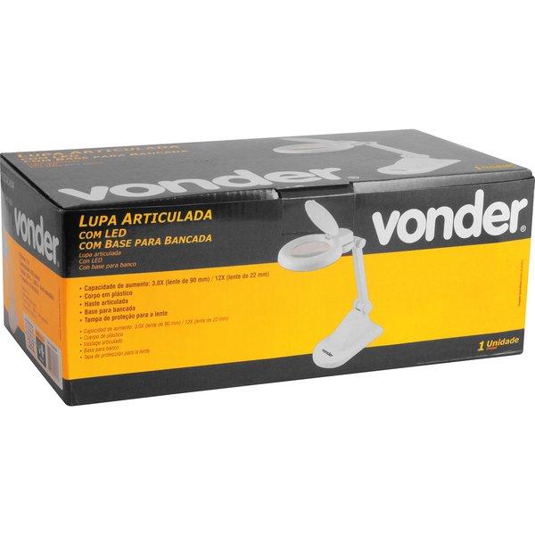 Lupa articulada com LED bivolt com base para bancada VONDER