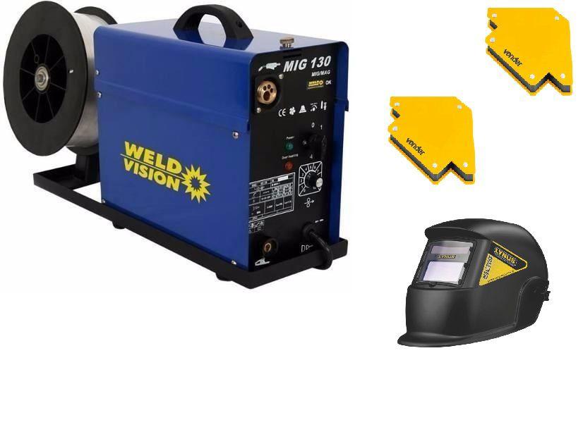 Maquina Solda MIg 130 Weld Vision esquadro e mascara Automatica
