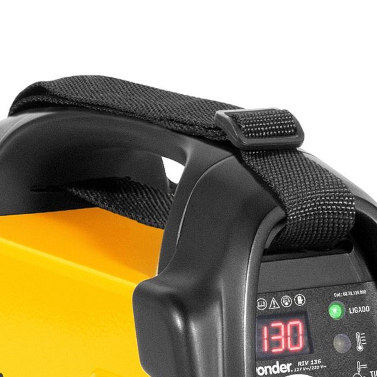 Máquina Inversora de Solda 130A Display Digital Bivolt RIV136 Vonder