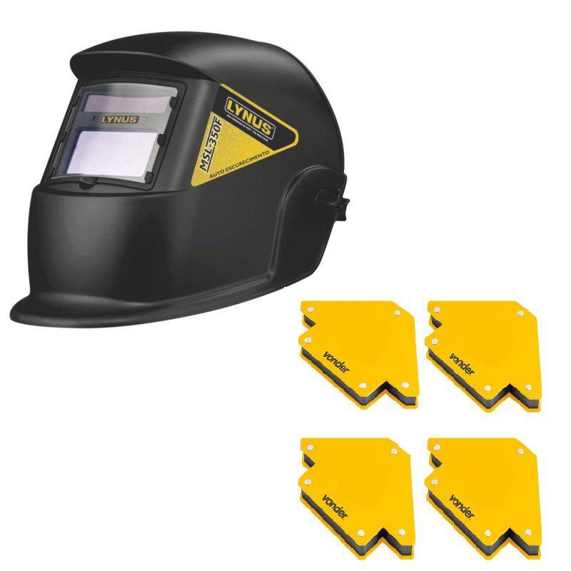 Máscara de Solda Automática MSL-350F - Lynus Com esquadro magnetico 10 kg