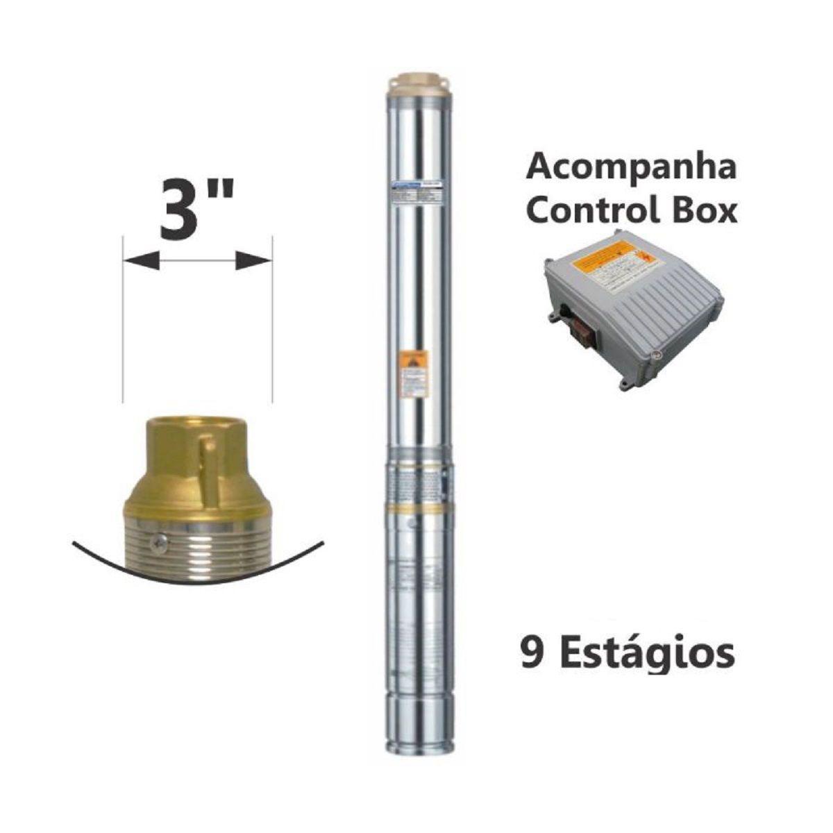 Motobomba Submersa Caneta Inox 220V 1/2Cv 3 Pol ESUB-3/9-2 Eletroplas