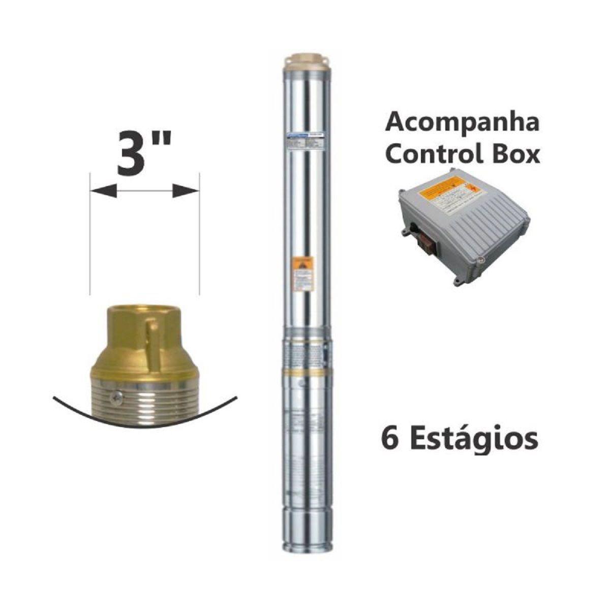 Motobomba Submersa Caneta Inox 220V 1/3Cv 3 Pol ESUB-3/6-2 Eletroplas