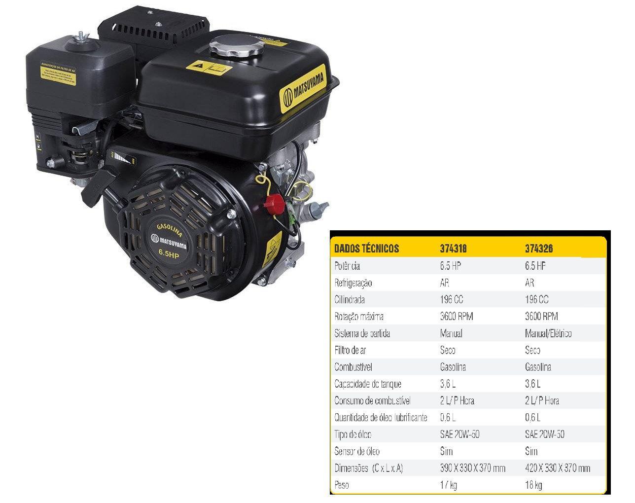 Motor à Gasolina Horizontal 6.5hp 196cc 4 Tempos - Matsuyama