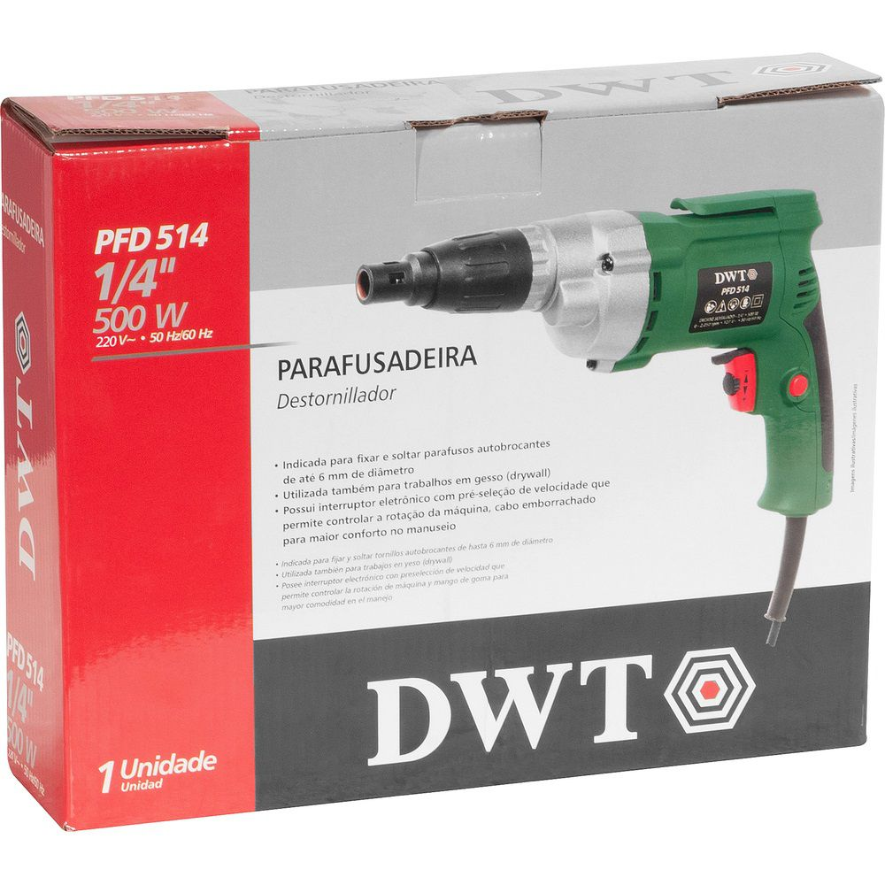 """Parafusadeira 500W 1/4"""" FPD514 220V DWT"""