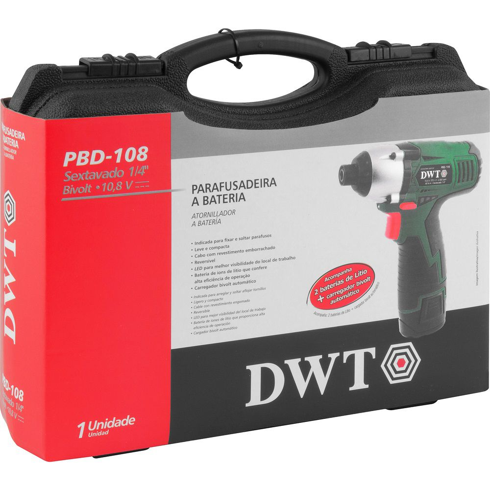 """Parafusadeira com Impacto a Bateria 10,8V 1/4"""" PBD108 Bivolt DWT"""