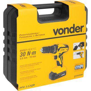Parafusadeira/furadeira a bateria 12 V PFV 112QR VONDER
