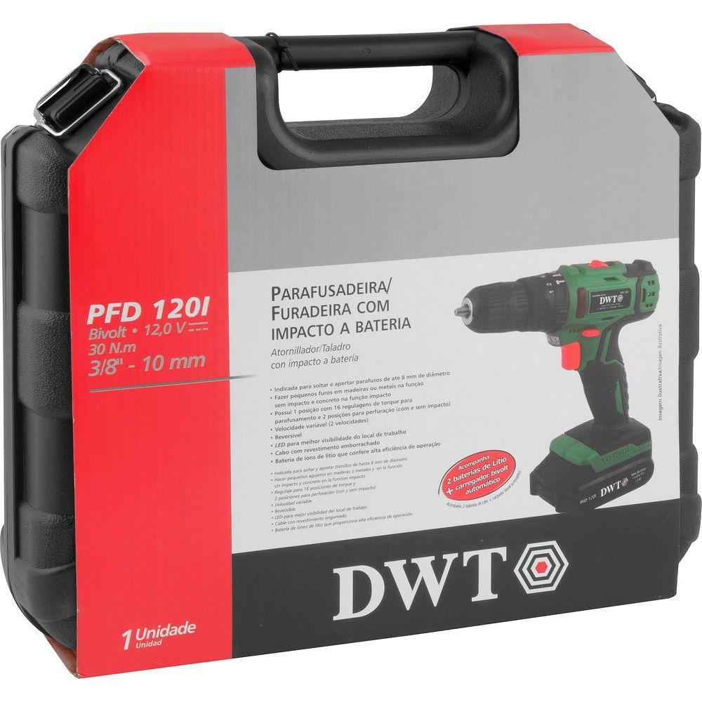 """Parafusadeira/Furadeira com Impacto e 2 Baterias 12,0V 3/8"""" PFD120I Bivolt DWT"""