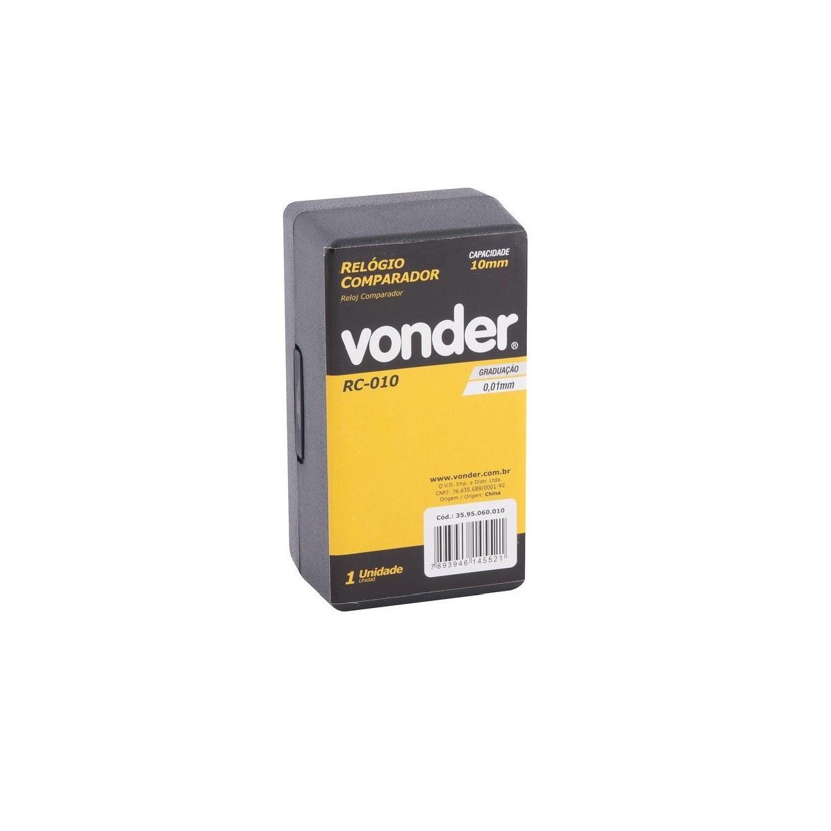 Relógio comparador analógico 10mm RC010 VONDER