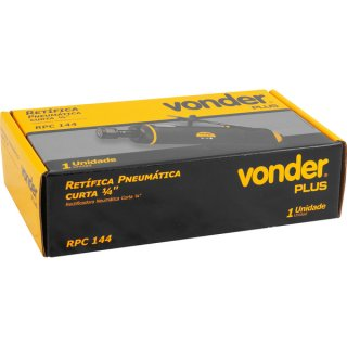 "Retífica Pneumática Curta Reta 1/4""-6,35 mm RPC144 Vonder"