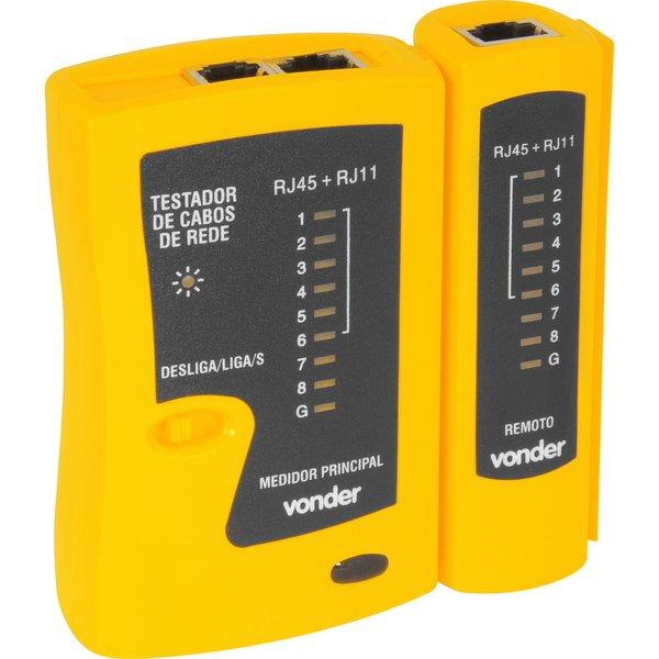 Testador de cabos de rede RJ11, RJ12 e RJ45 VONDER