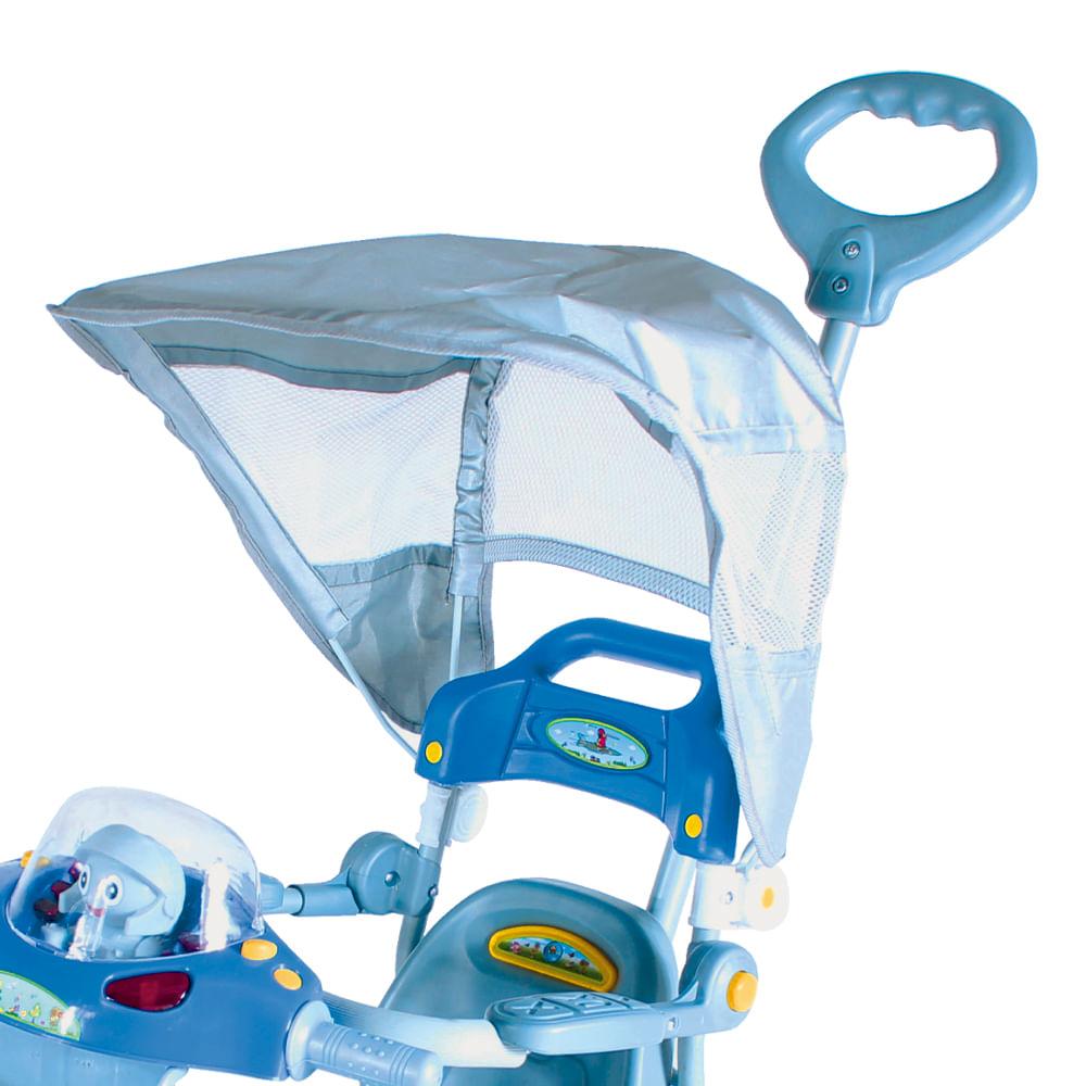 Triciclo Infantil E.T com Capota Azul Passeio e Pedal Bel