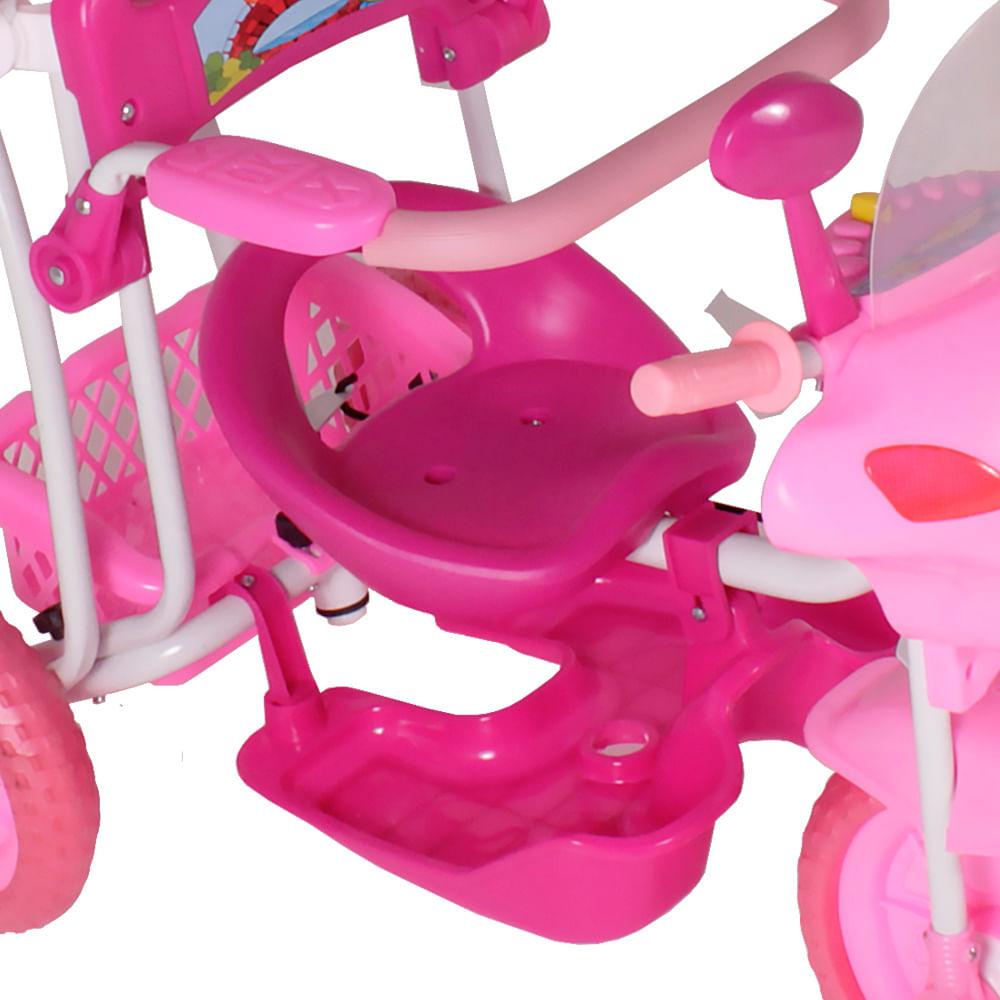Triciclo Motinha Infantil com Capota Rosa Passeio e Pedal Bel
