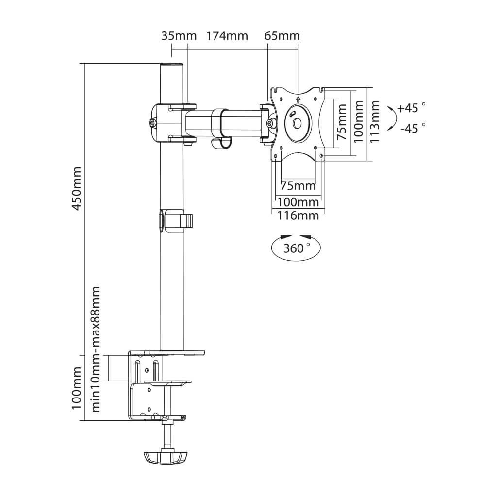 "Suporte Articulado para Monitor LCD e LED de 13"" a 27"" SS-711"