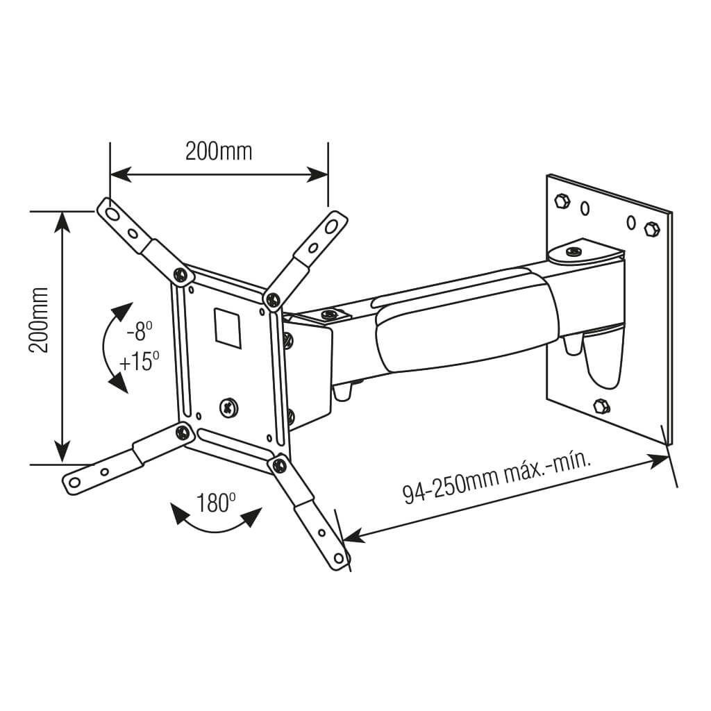 """Suporte Bi-Articulado para TV LCD, LED, Plasma de 10"""" a 37""""  SS-231"""