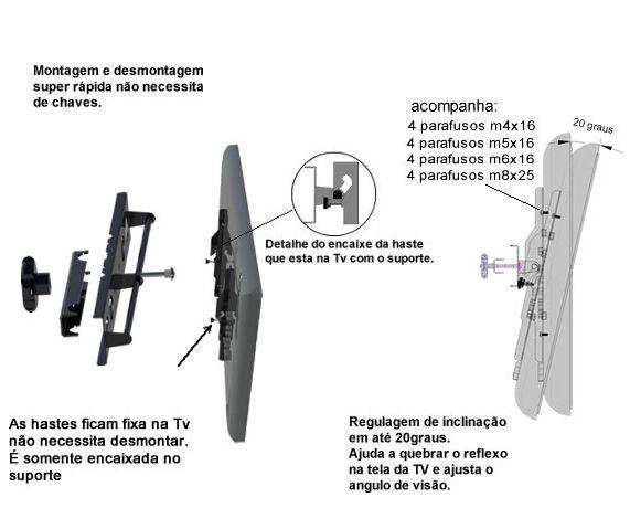 "Suporte Box Truss para TV LCD, LED, Plasma 19"" a 65"" SS-Q20TV"