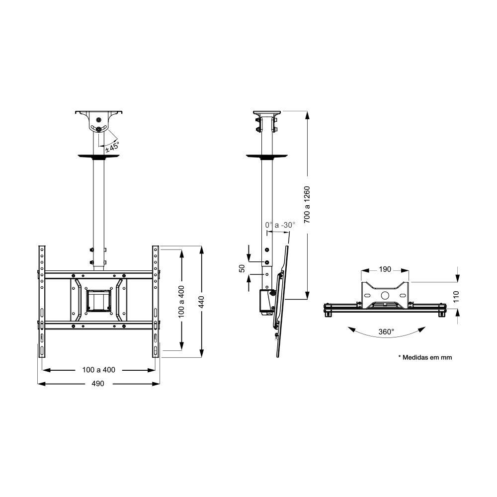 Suporte de Teto Giratório para TVs Plasma, 3D, LCD, LED de 26'' a 60''  SS-05V4