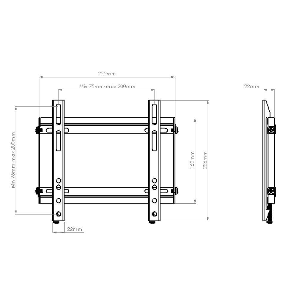 """Suporte Fixo Slim para TV LCD, LED, Plasma 23"""" a 42"""" SS-204"""