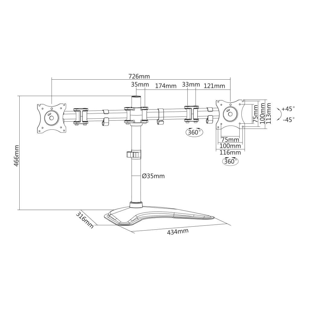 "Suporte para 2 Monitores LCD, LED 13"" a 27"" SS-720"