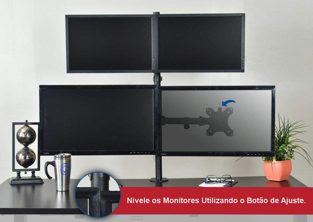 "Suporte para 4 Monitores LCD e LED de 13"" a 32"" SS-740"