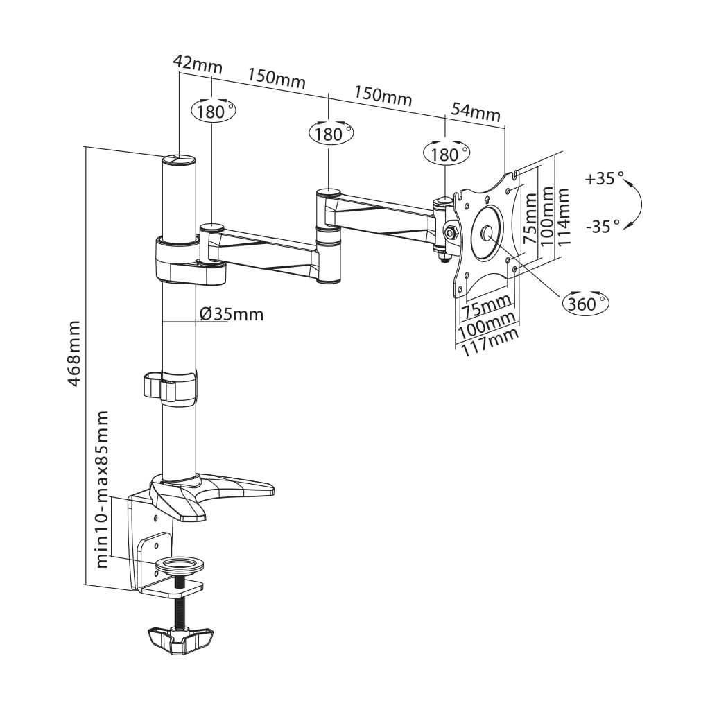 "Suporte para Monitor LCD e LED de 13"" a 27"" SS-712"