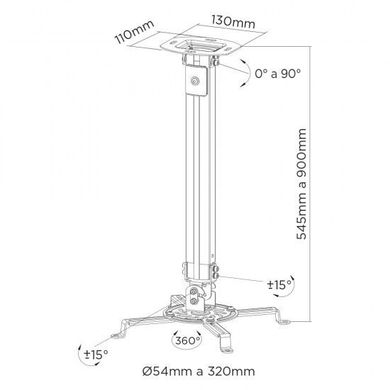 Suporte Regulável de Teto ou Parede para Projetor SS-1100W