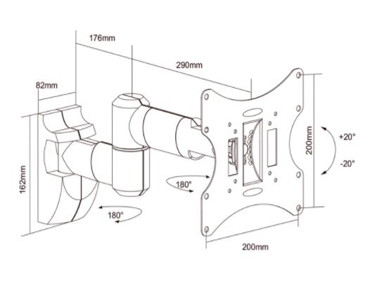 """Suporte Tri-Articulado para TV LCD, LED, 3D de 17"""" a 42"""" SS-503A"""