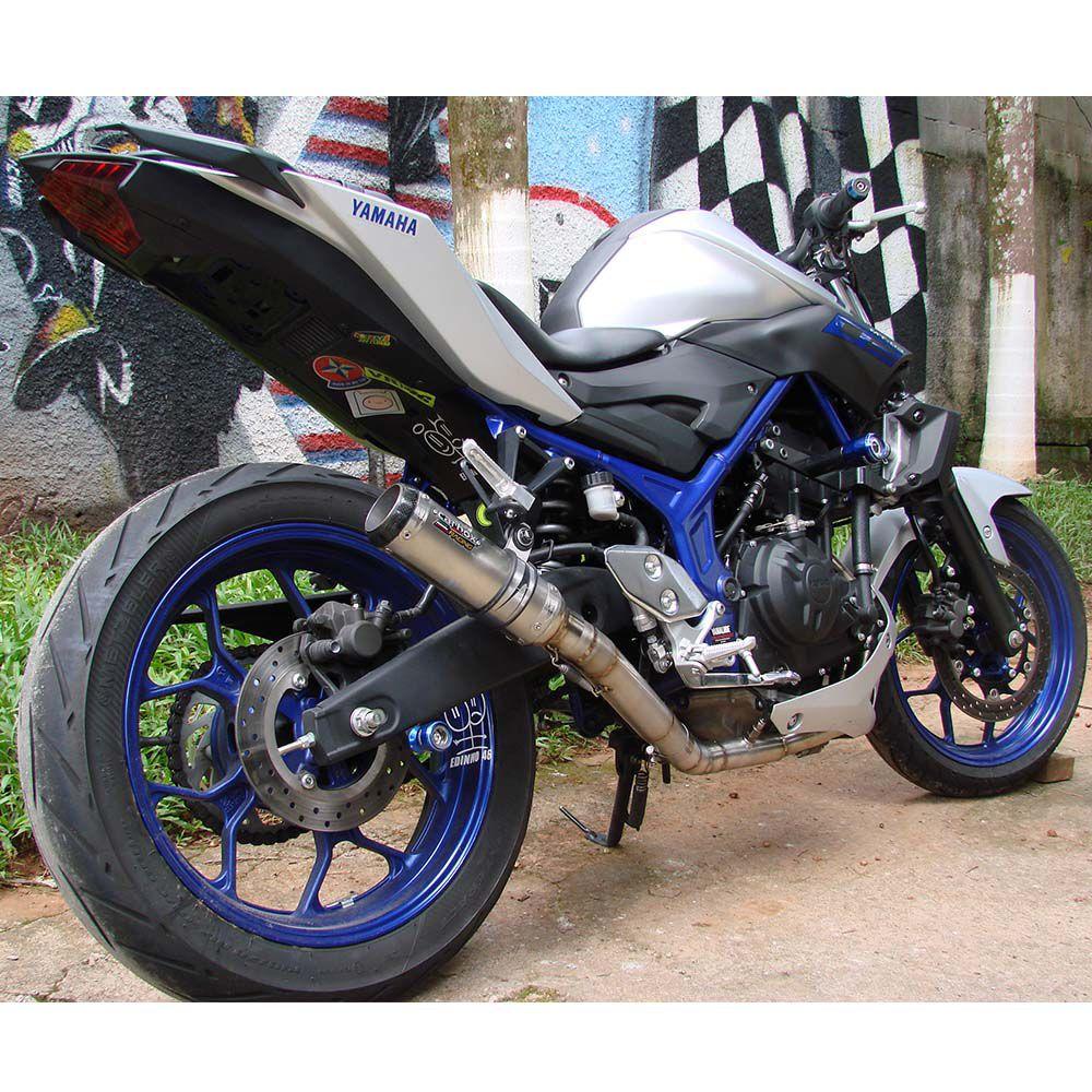 Ponteira Escape Gp Tech Inox Full 2x1 - Yamaha Mt-03