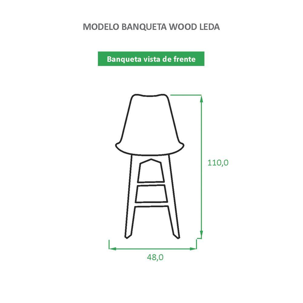 Banqueta Eames Wood Leda Cinza